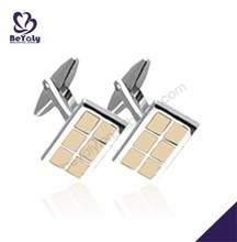 Partitioning rectangle smart handmade sports cufflinks for men