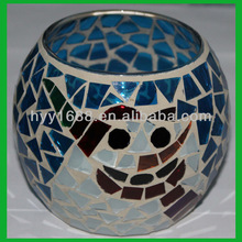 blue glass mosaic candle holder/cracked glass candle holder