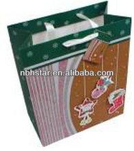 210g white cardboard 3D print hangtag paper gift bag(HSD-KR-004)