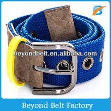 Beyond Men Women Genuine Leather Tab Woven Fabric Canvas Grommet Belt