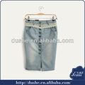 las señoras de moda los pantalones vaqueros de mezclilla faldas de tela con cordón