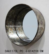 Round metal frame wall hanging mirror