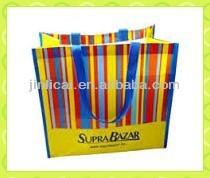 PP woven plastic colourful stripe popular shopping bag