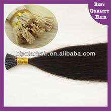 Hot selling remy brazilian hair italian keratin hair extensions I tip