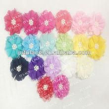 Small order vintage circle pearl chiffon flower for hair ,hand sewn hair accessories ,kids hair accessory