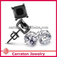Cheap Price 925 Sterling Silver Black Diamond Earring Screw Back Stud Earrings