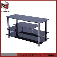 black glass TV stands with metal tube