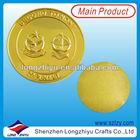 Matt gold plated round metal custom souvenir medallion coin badges emblem blank golden medal coins for souvenir