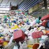 Recycled plastic foam scrap compress in bale
