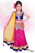 Blue Velvet and Pink Lehenga dress for Kids