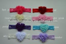 2014 Hot Saling Baby Flower chiffon heart Hair Band Infant Toddler Headbands beautiful design