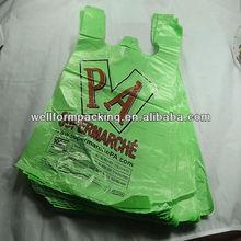 China manufacture 100% biodegradable t shirt bag for supermarket-high qualtiy, best service