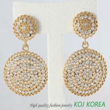 KE-125 double round earring, Korea fashion jewelry, round shape