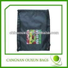 2014 fashion design draw string cheap nylon foldable shopping bag