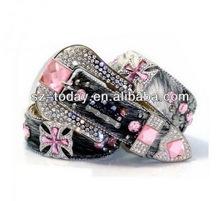 High quality genuine leather womens wholesale rhinestone belts