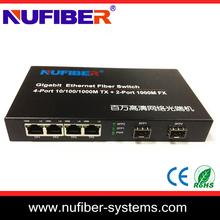 switch ethernet de fibra 4 ports UTP 2 ports SFP Slots professional factory