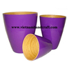 Quality eco-friendly hand made purple lacquered waste paper baskets with natural spun bamboo inside