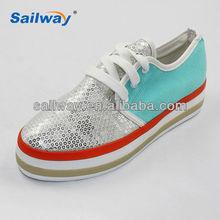 shiny upper girls fashion casual canvas shoes platform shoes