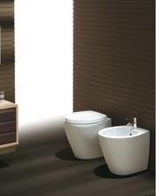 SIMAS LFT SPAZIO SERIES FREESTANDING WHITE CERAMIC SANITARY:WC BIDET AND TOILET SEAT MADE IN ITALY
