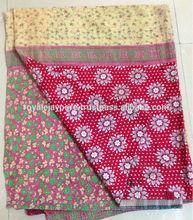 Beautiful Floral prints cotton quilts Vintage Kantha quilt reversible sari quilt gudri ralli throw blanket