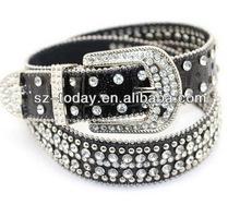 Black color women genuine leather rhinestone belt for wedding dress