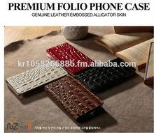 NIZWELL Alli Filp phone case for Samsung Galaxy Note 3 N900 Geniune Cow Leather Embossing Aliigator Skin