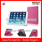 Free Shipping,(Kindle Origami) Slim Shell PC Leather Auto Wake Sleep Smart Cover Case For Ipad Air /Ipad5 Leather Case,Hot Pink