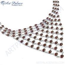 Impressive Garnet Gemstone Silver Necklace, 925 Sterling Silver Jewelry