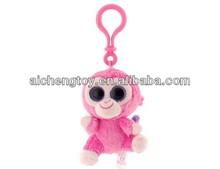 Cute mini plush animal monkey keychain toy with plastic hook