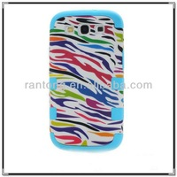 wholesale pc+silicone fancy robot stand mobile phone cover case for samsung galaxy S3 phone case