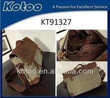 2014 Nice canvas student shoulder bag/ Nice leather school bag for yong men
