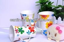 Horn shape mug with ear handle Ceramic mug printed with butterfly design