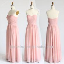 Real Sample Custom Made Wedding Evening Sweetheart Chiffon Light Pink Bridesmaid Dress Long BDH9-2