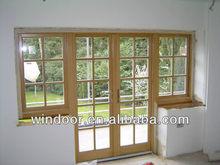 wooden color aluminum doors and windows grill design