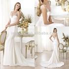 Exquisite Beaded Patterns V Neck Muslim Bridal Wedding Dress