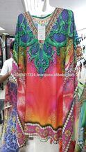 El último diseño digital de impresión kaftan para las señoras.