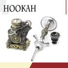 New design good quality 2 hose modern glass stainless steel design fashion khalil mamoon hookah