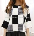 2014สีตารางการปิดกั้นทางแฟชั่นถักเสื้อกันหนาวผู้หญิงในประเทศจีน