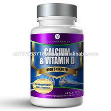 Calcium and Vitamin D3 500mg Dietary Supplement Pills Volcanat Health Round Bottle