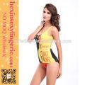 las mujeres sexy baratos amarillo de una sola pieza de trajes de baño