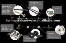 "Steel Formwork Formwork b form tie with rib washer Plastic ""P"" Cone 3/8"" Plastic ""D"" Cone 1/2"""