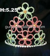 flower rhinestone tiara crown