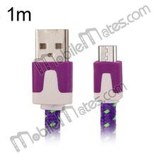 1M 3 Feet Nylon V8 Micro USB Charging Cable for Samsung S4 S3 HTC Blackberry Nokia Sony other Mobile Phone