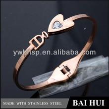 2014 Spring New Trendy Rose Gold Stainless Steel Heart Shape Marble Design Girl Bracelet