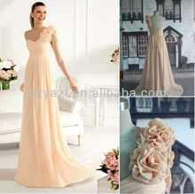 Hot Sell Pink/Mint/Purple/Light Blue One Shoulder A line Full Length Chiffon Bridesmaid Dress