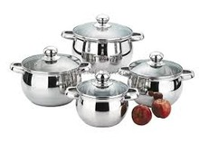 BRAND NEW 8 Pcs Stainless Steel Induction Cookware,18/20/22/24 CM casseroles with glass lid,red Bakelite handles casserole