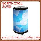 50L Commercial Round Barrel Electric Beverage Party Cooler ,outdoor portable can cooler fridge for beer bottle beverage can