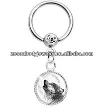 Howling Wolf Dangle Captive nipple Ring
