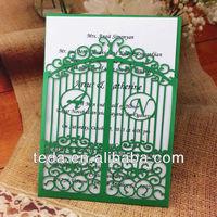 2014Teda Plain Green Birdcage Letters Wedding favor invitation cards sets