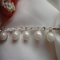 sew on embroidary pearl rhinestone mesh trimming